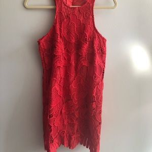 Lovers + Friends Red Lace Shift Dress Small